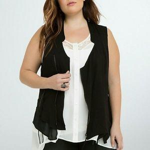 TORRID Mixed Fabric Zipper Vest